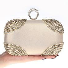 HOT punk finger rings rhinestones evening bags clutch purse evening women bags wedding handbags/tote shoulder bag