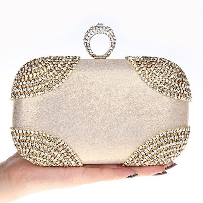 HOT punk finger rings rhinestones evening bags clutch purse evening women bags wedding handbags/tote shoulder bag<br><br>Aliexpress