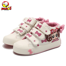 2017 New Canvas Children Sneakers Bowknot Baby Girls Princess Shoes Denim Kids Sneakers Polka Dot Flat Boots for Girls(China)