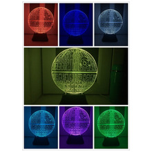 2017 Force Awakens ! Multi-colored Death Star Table Lamp 3D Death Star Bulbing Light Touch Switch Gifts Lamp for Star Wars Fans