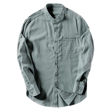 Linen Men Shirt Flax Solid Stand Collar Shirt For Men Slim Mens Shirt XXL Clothes Made Linen Cotton Culture Plus size M-4XL(China)