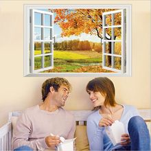 Romantic 3D False Window Scenery Autumn Maple DIY Wall Stickers Living Room TV/Sofa Backdrop Home Decor Mural Decal Wallpaper
