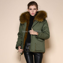 2017 Winter Army green warm coat Mrs fur parka,cheap wholesale price supplier,raccoon fur collar coat