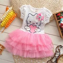 2016 Hot Summer Girls Dress Hello kitty Cartoon KT wings TUTU Dress Bow Veil Kids lovely Children Baby Clothing Fashion Dresses(China)