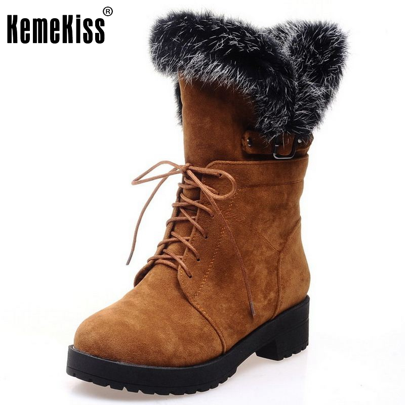Size 34-43 Gladiator Snow Boots Women Square Heels Half Short Boot Ladies Warm Plush Winter Half Knee Boots Shoes Woman <br>