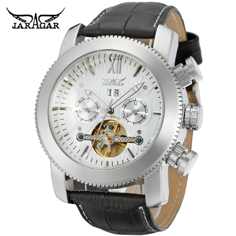 2017 JARAGAR Casual Erkek Kol Saati Mens Day/Week/Month Tourbillion Wristwatch PU Leather Wristwatch Free Ship<br>