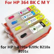 1set For hp364 364XL Refillable ink Cartridge for HP photosmart plus B209a B209c B210a B210c 3070A  printer with chip 4 color