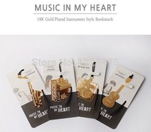 1PCS/Lot  Vintage musical instrument designs Metal Bookmark/DIY Multifunction Gold Book marks/funny gift
