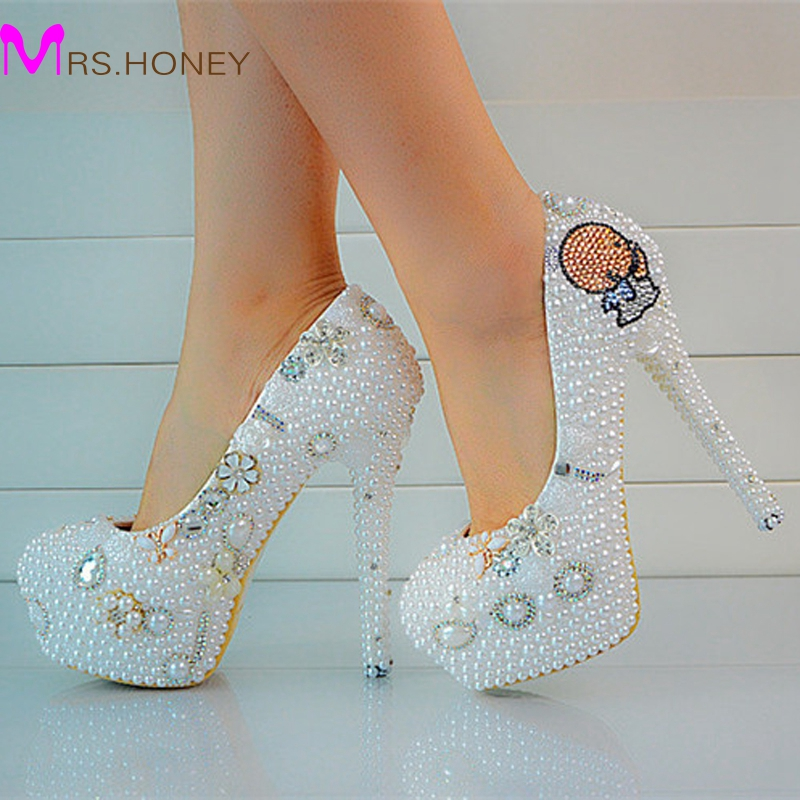 Round Toe Pearls Beaded High Heels Ladys Formal Shoes Womens Beaded Bridal Evening Prom Party Wedding Dresses Bridesmaid Shoes<br><br>Aliexpress