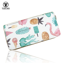 TZECHO Zipper Around Womens Organizer Wallet PU Leather Prints Flamingos Long Purses Coin Pocket Credit Card Holder Clutch Bag