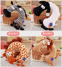 Cute 1pc 35cm cartoon giraffe donkey elephant zebra plush car funny office rest pacify U neck pillow stuffed toy girl gift(China)
