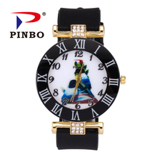 PINBO New Fashion Brand Gold Cute Birds Casual Quartz Watch Women Silicone Jelly Watches Hot Sale Ladies Clock Relogio Feminino(China)