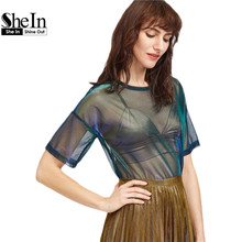 SheIn Women Casual Blouses Summer 2017 Sexy Ladies Tops Green Short Sleeve Drop Shoulder Iridescent Sheer Mesh Top - Official Store store