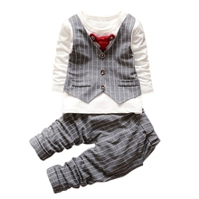 Baby Gentleman Formal Baby Boys Suit Long Sleeve Striped Tops Shirt + Pants 2Pcs Cotton Outfits S01