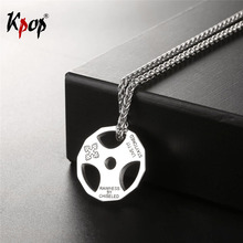 Kpop Cool Fitness Barbell Pattern Hollow Irregular Discs Gold Color Wholesale Trendy Stainless Steel Necklaces & Pendants P2540