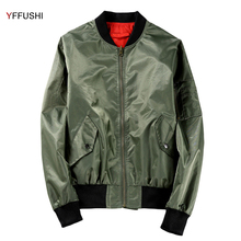 YFFUSHI Newest Jackets Men Reversible Spring/Autumn Green Black Bomber Jacket Men Loose Zipper Long Sleeve Casual Style 5XL(China)