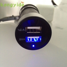 Car usb charger For Cell phone GPS 12V 24V To 5V LED 2 USB Charger Adapter janua13 Levert Dropship