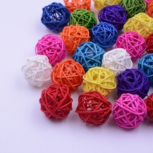 20Pcs/lot Artificial 3cm Straw Ball For Birthday Party Wedding Decoration Rattan Decor Christmas Decor Home Ornament Supplies
