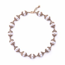 KUNIU 2017 New Design Simulated Round Pearl Chain Necklace for Women Bridal Jewelry Wedding Gifts Diamonds Neck