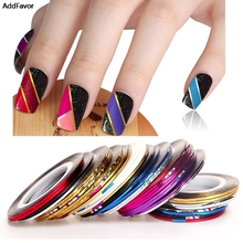 Addfavor 30PC Beauty Mix Colors Nail Rolls Striping Tape Line Nail Art Tips Decoration Design Makeup Fingernail Sticker Decal(China)