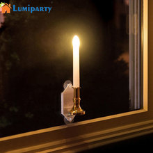 LumiParty 2Pcs Solar Powered LED Candle Lamp Indoor Decorative Lighting On Window Fashion Flick Candles jk35(China)