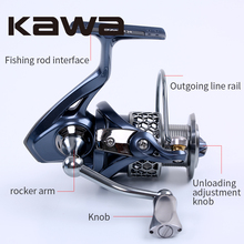 2016 Kawa New Spinning Fishing Reel Light-2000 3000 4000 5000 Series Wheel 9+1 Bearing Graphite Body Metal Spool Alloy Knob