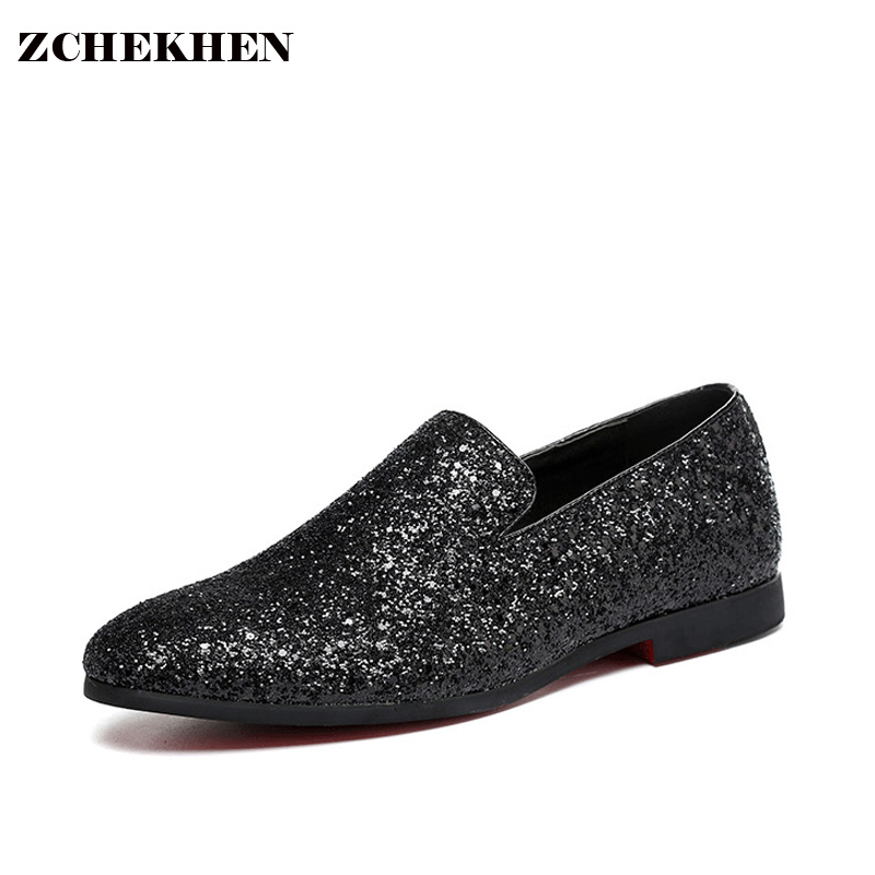 2017 Party Fashion autumn soft Leather Shoes Men diamond Bling pointed slip on Flat Casual loafers Shoes gold silver 38-48 size<br>