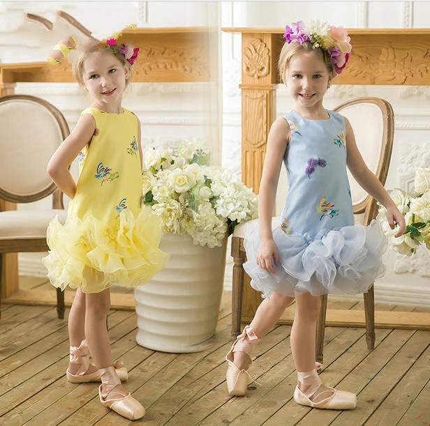 Girls Princess lady vest Sleeveless Dress Embroidery bud cake  dress<br><br>Aliexpress