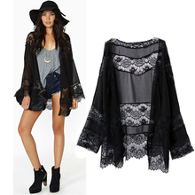 New Jacket Hot Marketing 2017 Fashion Women Lace Splicing Hollow Chiffon Kimono Cardigan Blouse Coat Tops Drop Shipping