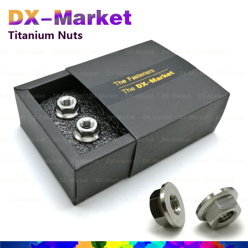 m12 *1.25p , 4pcs /set , Titanium color , Fine thread Titanium Hex flange Nut set , Bicycle Accessories Advanced Upgrade<br>