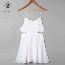 ZAN.STYLE Summer Mini Side Cut Out Slip Dress Sleeveless Hollow Out Backless A Line Dress White Casual Halter Strap Sundress(China)