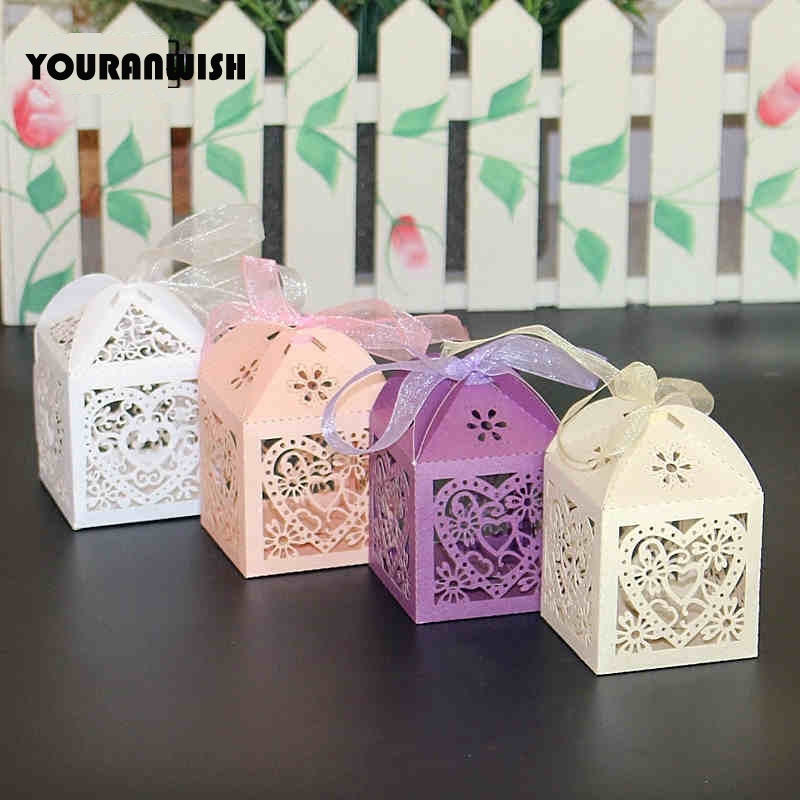 Hollow Heart Laser Cut Paper Gift Boxes [ 100 Piece Lot ] 8