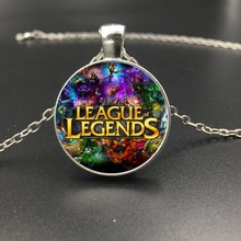 4 Styles Lea gue  Game Glass Cabochon Pendant Necklace High Quality Cheap Silver Short Chain Necklace Free Shipping