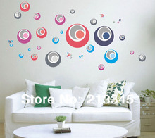 [Fundecor] diy decals abstract art home decoration color circle sticker wall 6318