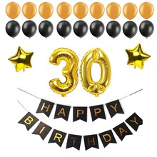 40 50 60 30 years old happy Birthday Paper Bunting Banner Number foil latex balloons Birthday Party Decoration Supplies black(China)