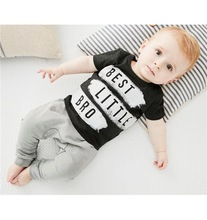 2017 New summer baby boy clothe cotton letter printed  short sleeve t-shirt+pants newborn infant clothing 2pcs set