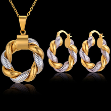 Vintage Jewelry Sets For Women Two Tone Gold Color Unique Earrings And Necklace Set Wedding Jewellery Sets Brincos Collier Femme