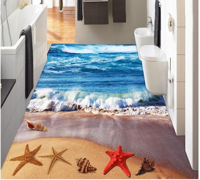 3 d pvc flooring custom wall paper  The sea blue waves 3d bathroom flooring stereograph murals photo wallpaper for walls 3d<br>