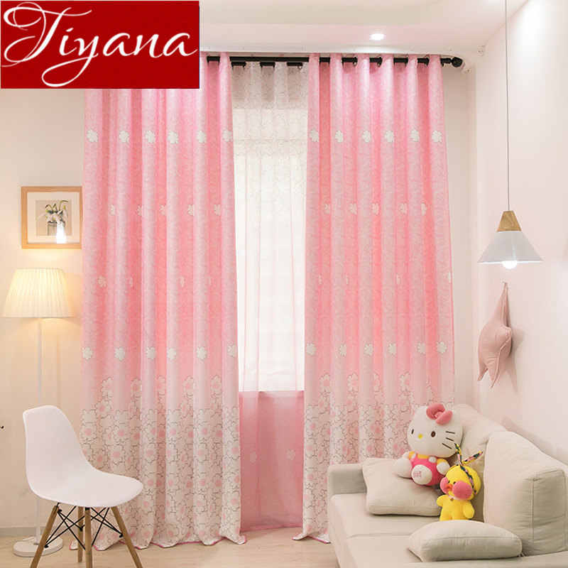 Floral Print Pink Sheer Curtain for Girls Room Bedroom Flower Window Curtains Tulle Fabrics Blue Drapes for Living Room X181#30