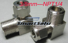 free shipping  2pc/lots for 3/8mm-NPT1/4  stainless steel elbow compression fittings stainless steel elbow connectors
