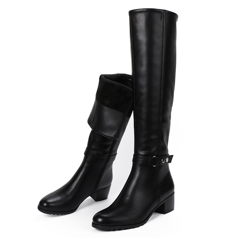 knee High Boots Winter Fur Boots Over The Knee Boots Soft Leather Zipper Women Boots Thigh High Winter Warm Shoes