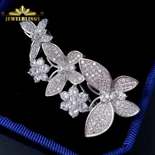 Stunning Micro Pave CZ Three Butterfly Brooches Silver Tone Round Cut Flowers Deco Dancing Butterfly Pins for Wedding Jewelry(China)