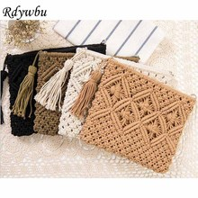 Rdywbu Brand Handmade Hollow Out Purse Clutch Bag 2017 Women Fashion High Quality Tassel Beach Bag Woven kont Messenger Bag B436