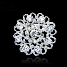 Safety Pin Brooch Women Round Clear Rhinestone Crystal  Pin  New Jewelry Crystal Bouquet Silver Flower Faux Pearl Brooch