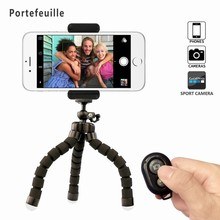 Portefeuille Mini Flexible Phone Stand Holder Bluetooth Wireless Remote Shutter for Xiaomi iPhone 7 6 S Mini Tripod Suporte(China)