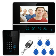 "Wired Touch Key 7"" Video Door Phone Intercom System 1 RFID Keypad Code Number Doorbell Camera 1 Monitor 1000TVL Free Shipping(China)"