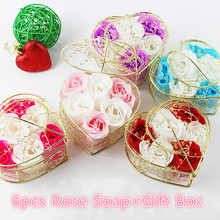 6Pcs/Box Bathing Soap Artificial Flower Gift Heart Shaped Rose Bathing Soap Day Mother's Day Wedding Party Gift 10 cm x 6 cm