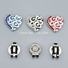Free Shipping Beautiful heart-shaped golf hat clip mark, Golf cap marker & hat clip 3Pcs/lot(China)