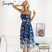 Buy Simplee Vintage print beach summer dress women Bow halter backless sexy dress Chiffon lace long party dress vestidos sundress