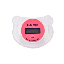 Practical New Baby Kid LCD Digital Mouth Nipple Pacifier Thermometer Temperature Blue Pink(China)